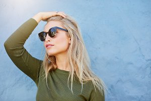 Young blonde in sunglasses