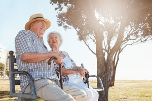 Relaxed senior couple sitting