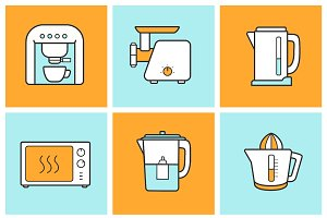 Kitchenware color icons set. Vector