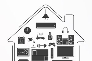 Living room icons. Vector