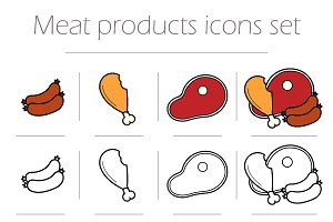 Meat icons set. Vector