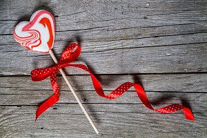 Valentine day concept - heart shaped lolly pop