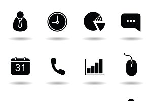 Office icons set. Vector