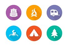Camping flat design icons. Vector