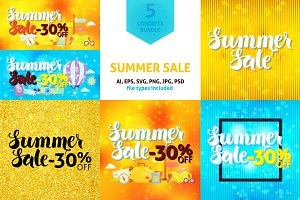 Summer Sale 30% Off Vector Concepts
