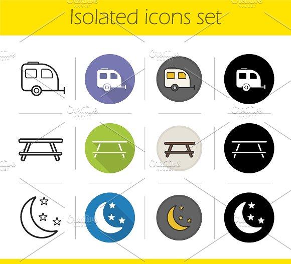 Camping icons set. Vector
