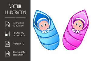 Illustration baby boy and girl
