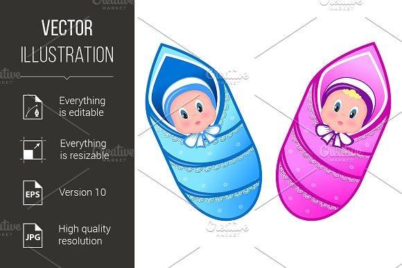 Illustration baby boy and girl