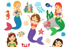 Cute mermaids characters