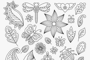 Floral line elements set