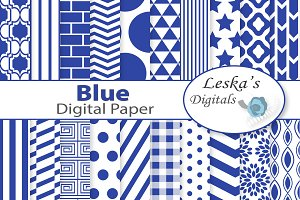 Blue Digital Paper Pack set of 20