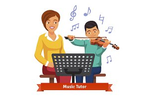 Musical tutor woman and kid boy