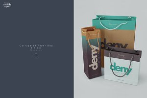 Corrugated Paper Bag 3 Types Mockup