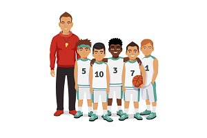 School basketball team with coach