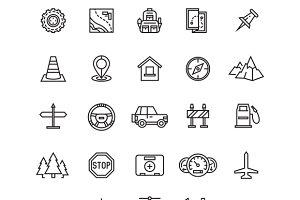 Vector road, auto line icons