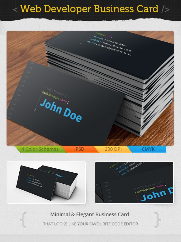 Web developer business card business card templates creative market reheart Image collections