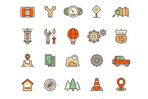 Location and travelling icons