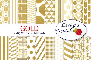 Gold Foil Digital Paper Patterns