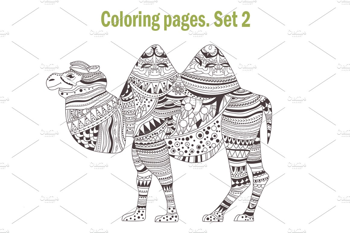 coloring pages animals set 2 graphics creative market. Black Bedroom Furniture Sets. Home Design Ideas