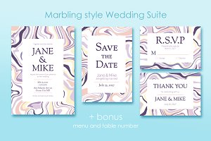 Marble Wedding Invitations Set