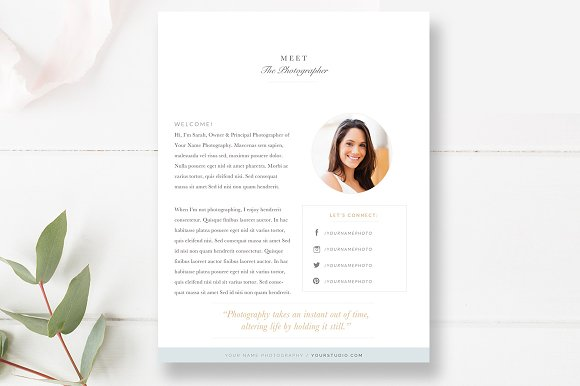 About Me Page Template For Photo Flyer Templates Creative Market