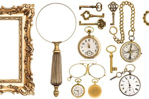 Golden vintage accessories objects