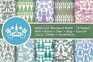 Watercolor Woodland Patterns
