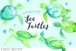 Watercolor Sea Turtles Pack
