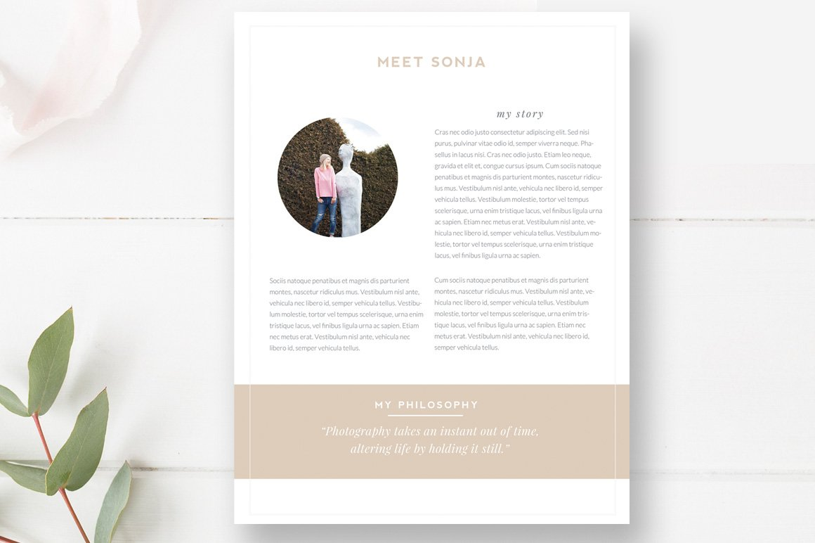 About Me Page Template For Photo Flyer Templates