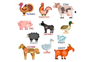 Farm animals and birds flat icons