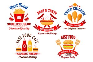 Fast food cafe labels and emblems