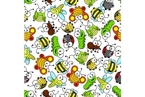 Insects characters seamless pattern