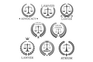 Lawyer service, law office icons