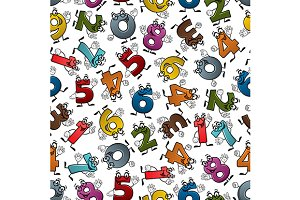 Numbers characters seamless pattern