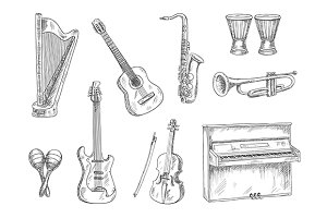 Musical instruments sketches