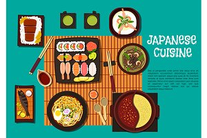 Traditional japanese cuisine dishes
