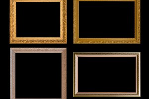 Gold frame Elegant vintage Isolated