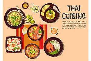 Thai cuisine dishes and desserts
