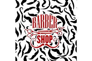 Vintage barbershop seamless pattern