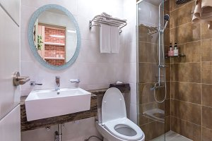 Bathroom interior and toilet