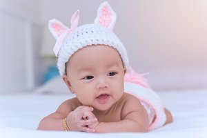 Portrait of cute newborn baby girl