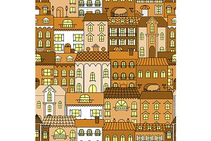 Seamless old town pattern