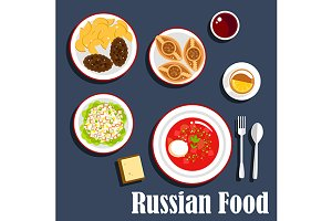 Russian cuisine dinner