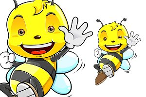 Cute Honey Bee Cartoon Character