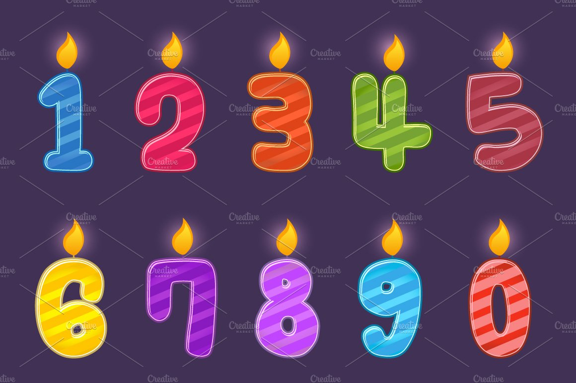 Set Of Numbers Birthday Candles Icons Creative Market