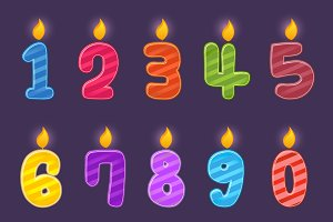 Set of Numbers Birthday Candles