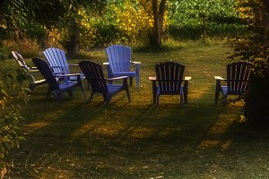 Lawn Chairs in Sunset Light