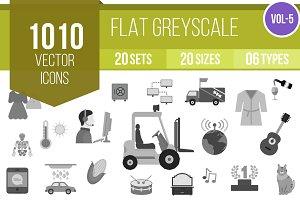 1010 Flat Greyscale Icons (V5)