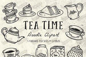 Doodle Tea Time Clip Art