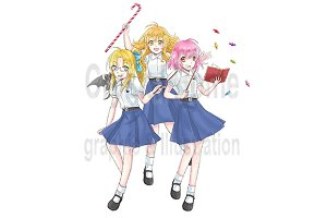 Cartoon witches in school uniform
